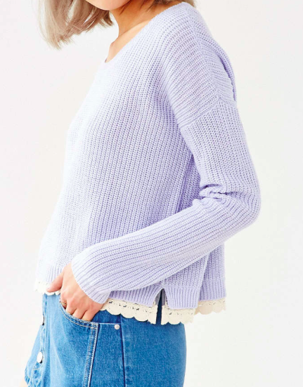 Urban Outfitters lace trim knit sweater