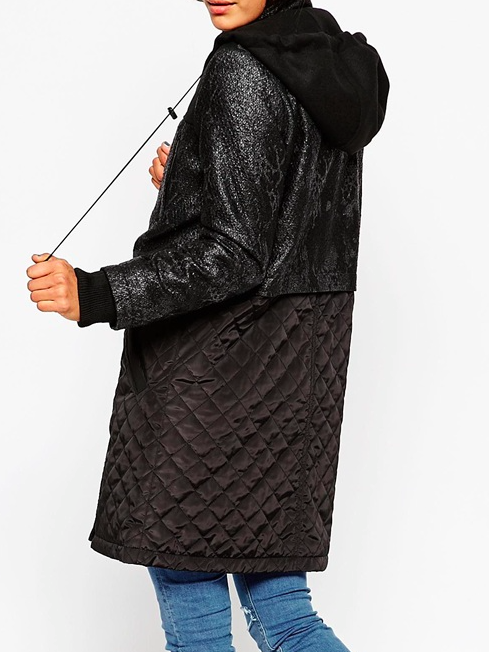 Asos mixed fabric parka