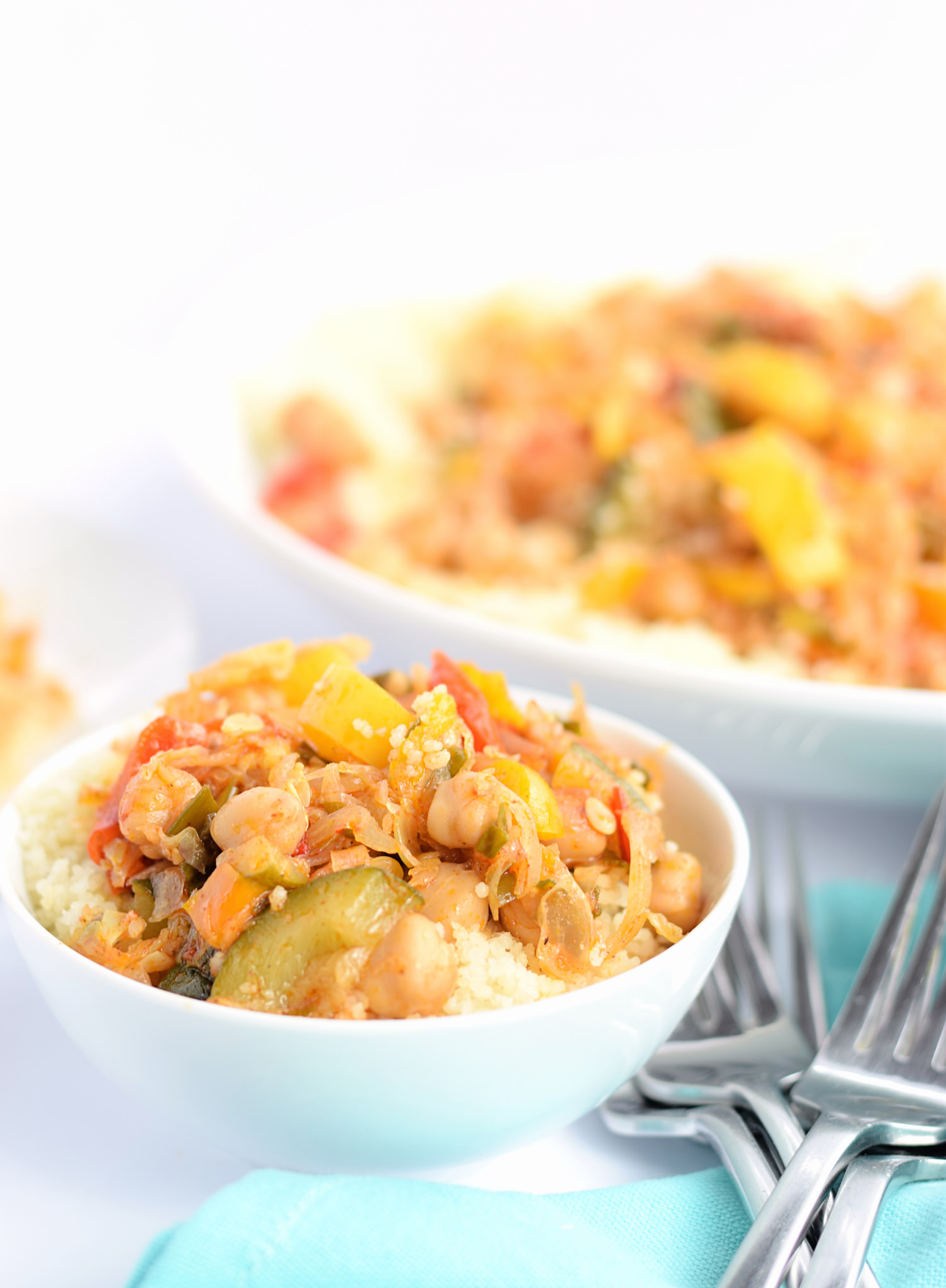 This Sautéed Chickpea and Vegetable Couscous is packed with flavor and nutrients and makes the perfect lunch or dinner. So addictive!   trufflesandtrends.com
