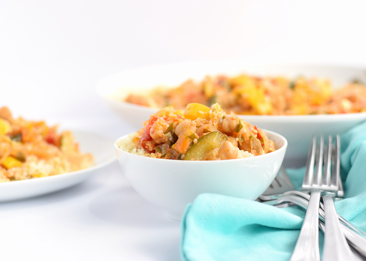 This Sautéed Chickpea and Vegetable Couscous is packed with flavor and nutrients and makes the perfect lunch or dinner. So addictive! | trufflesandtrends.com