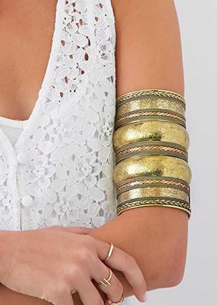 Forever 21 Elephant Floral Etched Arm Cuff