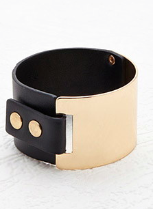 Forever 21 metal and leather cuff