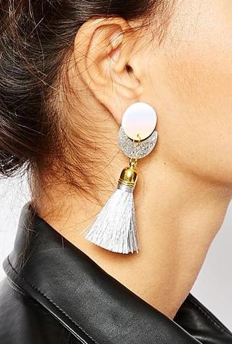Suzywan DELUXE Glitter Moon Short Tassel Earrings