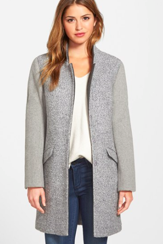 Kenneth Cole New York Contrast Sleeve Bouclé Coat