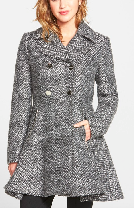Laundry by Shelli Segal Chevron Twill Double Breasted Skirted Coat