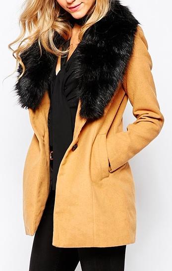 Vero Moda Coat With Faux Fur Collar