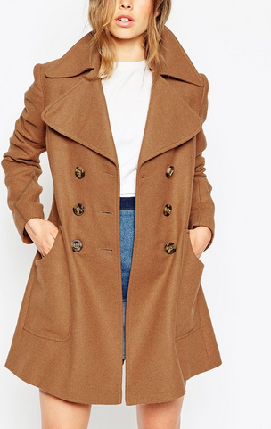 ASOS Coat With Oversized Collar And Double Breast Detail
