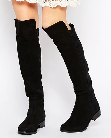 Dune Trish Black Suede Flat Over The Knee Boots