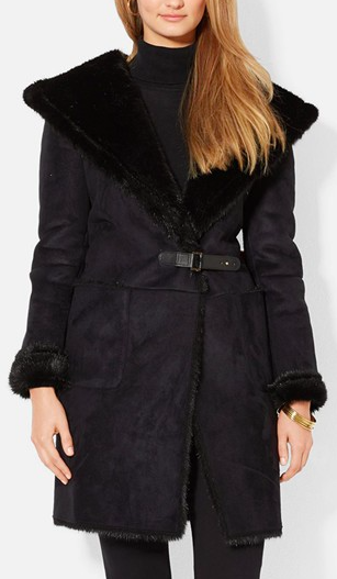 Lauren Ralph Lauren Hooded Faux Shearling Drape Front Coat