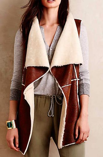 Anthropologie shearling vest