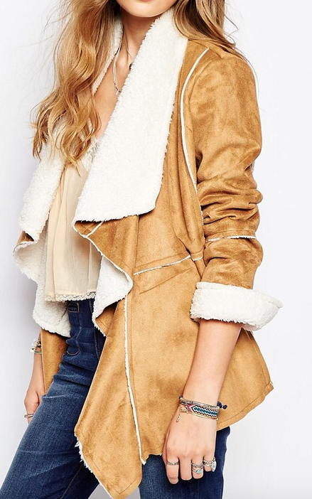 Somedays Lovin Hail Sunrise Jacket in Faux Suede Shearling