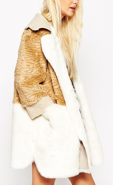 ASOS Coat in Patchwork Faux Fur & Faux Shearling