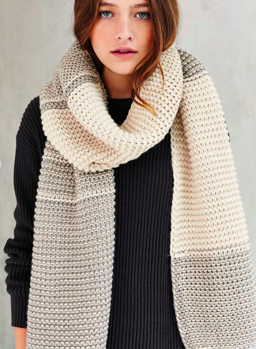 Urban Outfitters Colorblock Seed Stitch Scarf