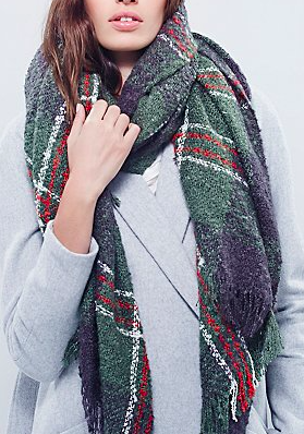 Free People oversized plaid scarf