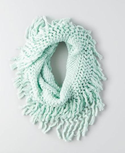 AEO knit fringe scarf
