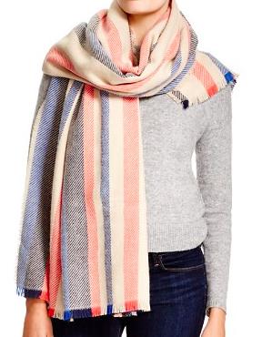 Aqua variegated stripe scarf