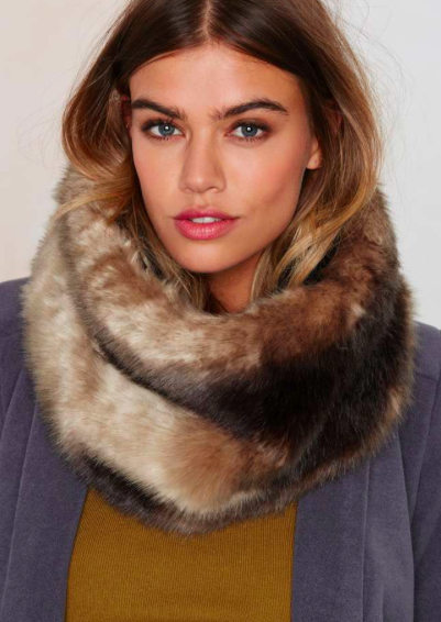 Neck and Neck Faux Fur Infinity Scarf