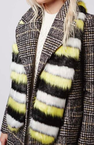 Topshop striped faux fur stole