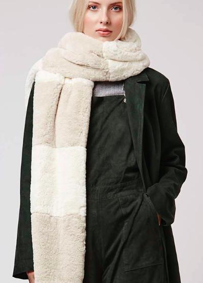 Topshop Stripe Super-Soft Faux Fur Scarf