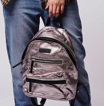 Topshop coated canvas small backpack