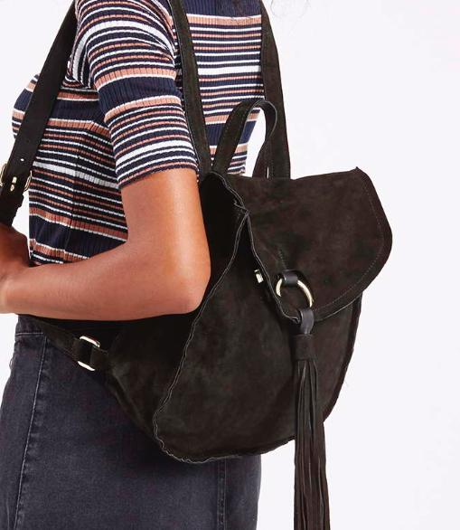 Topshop suede backpack
