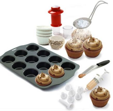 Kitchen Gems Cupcake Baking and Decorating Fun Gift Set Kit
