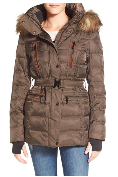 Vince Camuto Faux Down & Feather Jacket with Faux Fur Trim