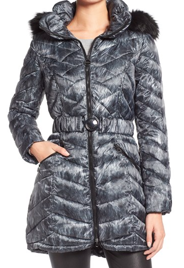 Laundry by Shelli Segal Quilted Print Coat with Faux Fur Trim