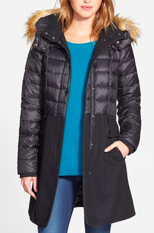 1 Madison Quilted Down & Wool Blend Coat with Faux Fur Trim