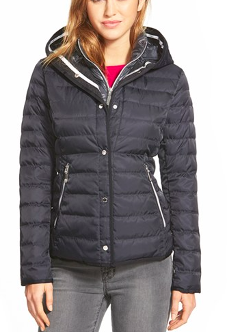 Vince Camuto Hooded Down Jacket with Vest Front Insert