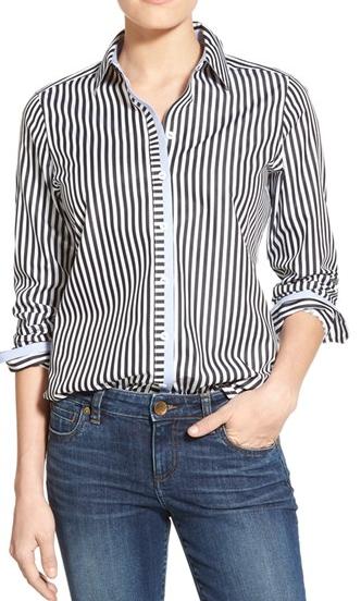 Foxcroft Stripe Non-Iron Cotton Sateen Shirt