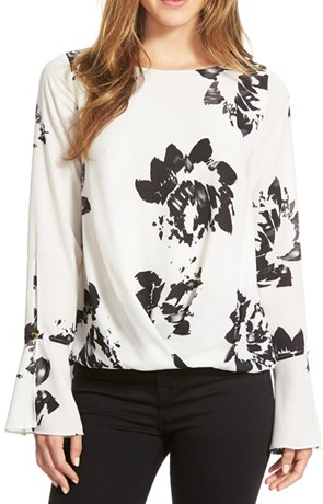 Vince camuto black and white floral top