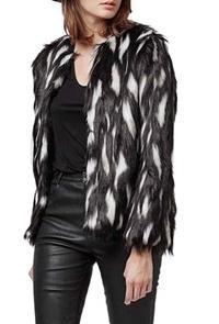 Topshop black and white fur jacket