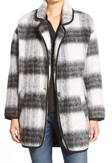 ASTR Two Tone Fuzzy Plaid Jacket