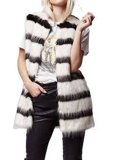 Topshop Black and White Stripe Faux Fur Vest