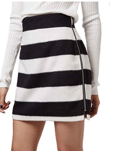 Topshop Black and White Stripe A-Line Skirt