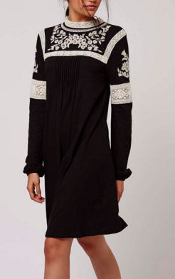 Topshop black and white Embroidered Smock Dress