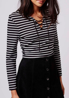 Topshop Black and White Tie-Up Stripe Top