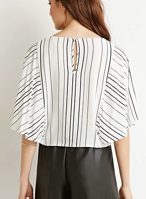 Forever 21 Contemporary Striped Dolman Sleeve Blouse