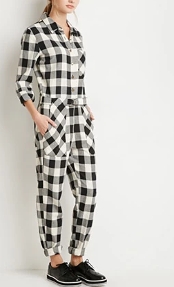 Forever 21 black and white Plaid Jumpsuit