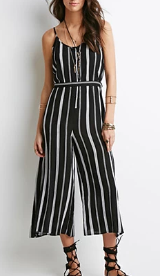 Forever 21 black and white striped jumpsuit