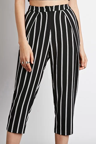 Forever 21 black and white Striped High-Waisted Capris