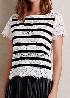 Anthropologie lace black and white top