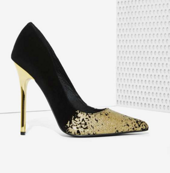 With Gold Information Suede Heel