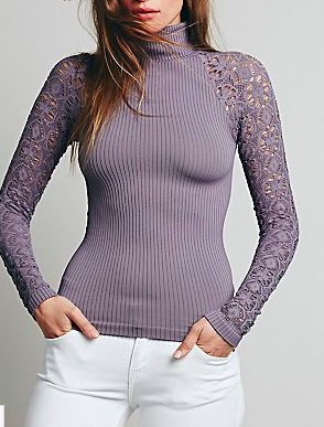 Free People rib and lace top