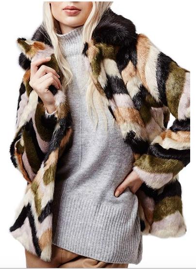 Topshop Chevron Faux Fur Coat