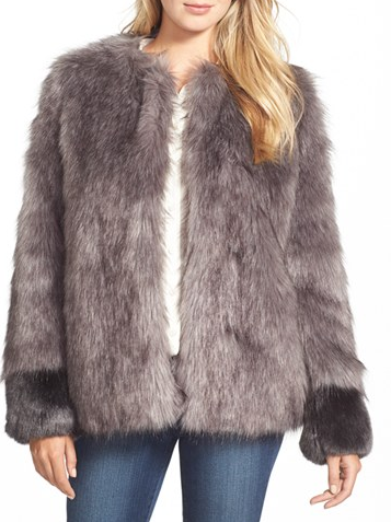 Vera Wang Vera Wang 'Scarlett' Collarless Faux Fur Jacket
