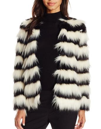 Vero Moda Women's Stripe Short Faux-Fur Jacket