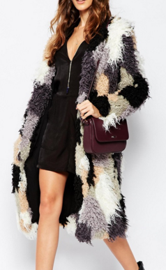Neon Rose Patch Work Shearling Coat