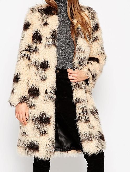 ASOS Coat In Shaggy Faux Fur